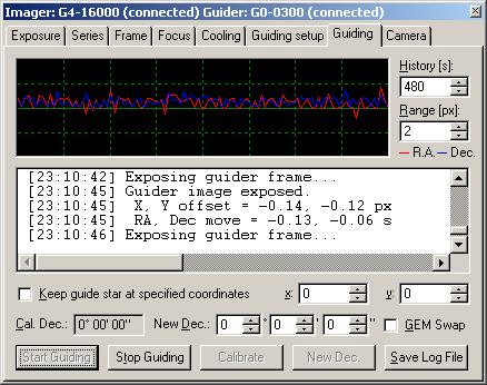 Záložka Guiding nástroje CCD Camera programu SIPS