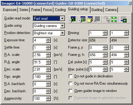 Záložka Guiding setup nástroje CCD Camera programu SIPS